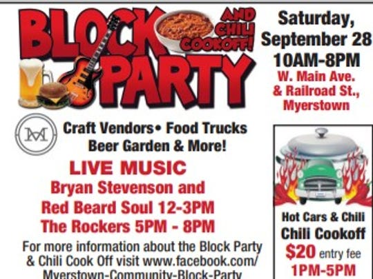 More details on the Myerstown Community Block Party this Saturday, Sept. 28.