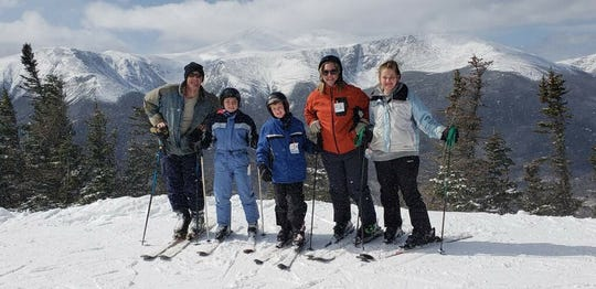 The Wilson family poses for a photo during their ski trip to Mount Washington in New Hampshire in spring 2018. From left: John, Julia, Johnny, Betsy and Theodosia Wilson