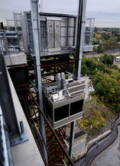 In this view looking east toward Poughkeepsie, the Walkway Over the Hudson elevator begins its descent.
