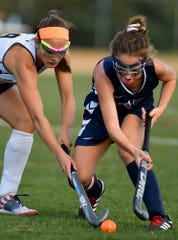 Shae Forry of Eastern battles West York's Megan Spadafora for the ball, Tuesday, September 24, 2019.