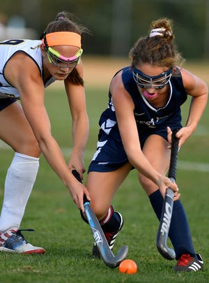 Shae Forry of Eastern battles West York's Megan Spadafora for the ball, Tuesday, September 24, 2019.John A. Pavoncello photo