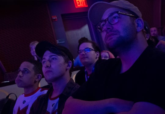 Maryville University esports director Daniel Clerke watches the League of Legends final during the HUE Invitational  on Saturday, Sept. 21, 2019 in Harrisburg. Maryville University defeated Harrisburg University of Science and Technology 2-0 in the final.