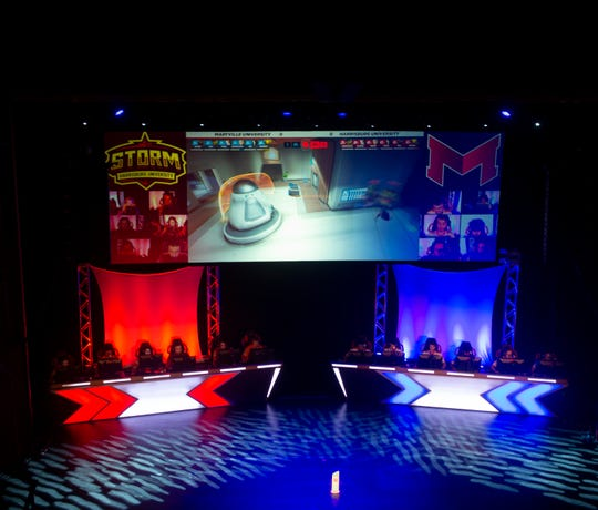 The Overwatch finals during HUE Invitational at the Whitaker Science Center in Harrisburg on Saturday, Sept. 21, 2019. Maryville University defeated Harrisburg University of Science and Technology 3-0.