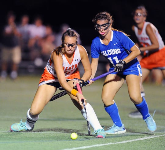 Palmyra's Lauren Wadas (21) takes control of the ball in-front of Lower Dauphin's Lauren Hunter (11) during a game won by Lower Dauphin, 1-0, in overtime Sept. 23.