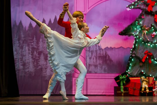 "Clara dances with the Nutcracker Prince in Sierra Nevada Ballet's performance of ""Peanutcracker."""