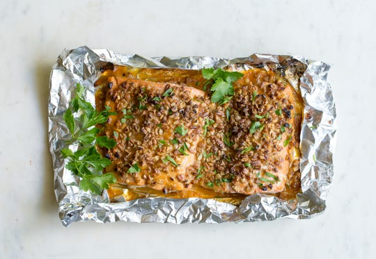 Pecan-crusted honey mustard salmon is baked, then finished beneath the broiler.