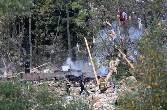 Aftermath of the home explosion in Ontario County on Quayle Road in Richmond. Two bodies were recovered from the wreckage.