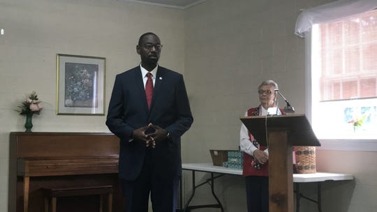 James A. Lilliston Sr., candidate for Accomack County Treasurer, speaks at a candidates forum sponsored by the Women's Club of Accomack County in Onley, Virginia on Thursday, Sept. 19, 2019.