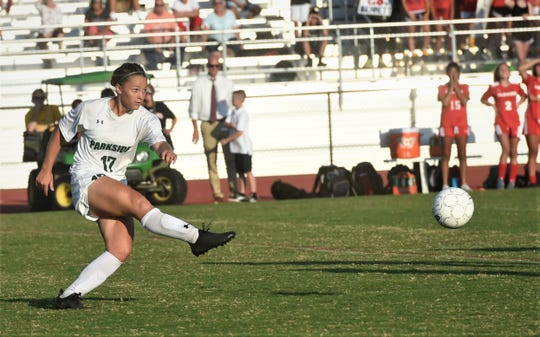 Parkside's Cat Smith fires a kick down field on Monday, Sept. 23, 2019.