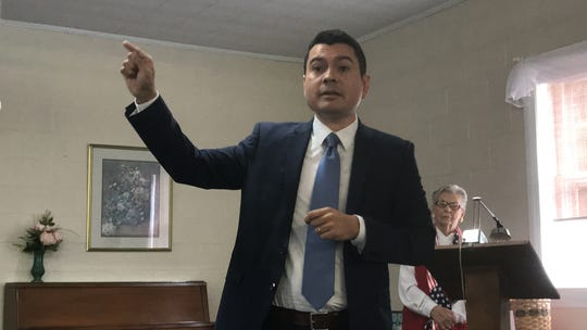 Phil Hernandez, Democratic candidate for the Virginia House of Delegates 100th District, speaks at a candidates forum sponsored by the Women's Club of Accomack County in Onley, Virginia on Thursday, Sept. 19, 2019.