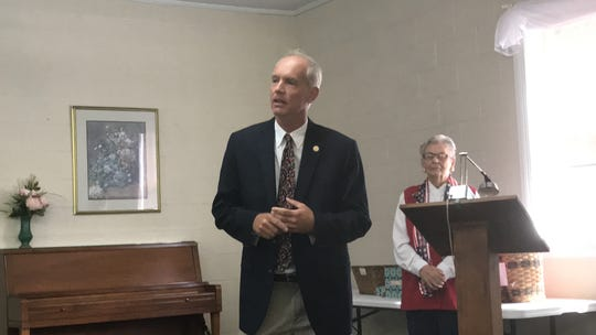 Del. Rob Bloxom speaks at a candidates forum sponsored by the Women's Club of Accomack County in Onley, Virginia on Thursday, Sept. 19, 2019.