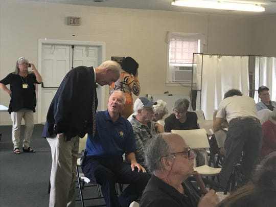 Accomack Sheriff Todd Godwin, seated, chats with Del. Rob Bloxom before a candidates forum at the Accomack County Women's Club in Onley, Virginia on Thursday, Sept. 19, 2019.