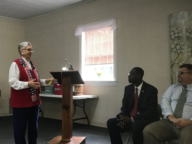 Laura Belle Gordy addresses the candidates at a candidates forum sponsored by the Women's Club of Accomack County in Onley, Virginia on Thursday, Sept. 19, 2019.