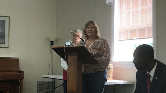 Connie C. Burford, candidate for Accomack County School Board in District 4, speaks at a candidates forum sponsored by the Women's Club of Accomack County in Onley, Virginia on Thursday, Sept. 19, 2019.