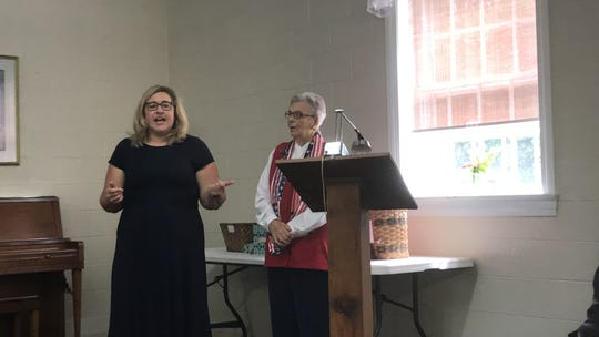 Elizabeth Lankford, the Republican candidate for Virginia Senate District 6, speaks at a candidates forum sponsored by the Women's Club of Accomack County in Onley, Virginia on Thursday, Sept. 19, 2019.