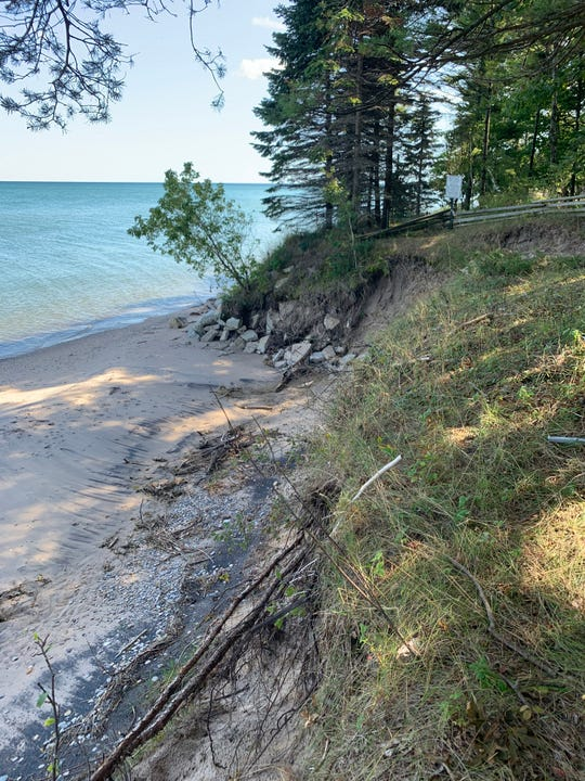 Erosion on the shoreline of Lake Michigan has left homes and other property at risk.