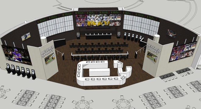 A rendering of what the new sportsbook will look like after the $10 million expansion at Grand Falls Casino and Golf Resort is completed.