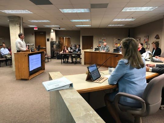 Jeff Schaefer, auditor with the SD Department of Legislative Audit, gives Minnehaha County Commissioners a report of a 2018 county audit.