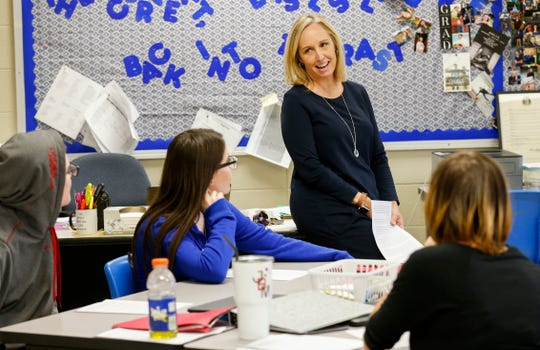 "Melissa ""Misty"" Grandel, an English and speech teacher at Fordland High School, talks with her students during class on Monday, Sep. 23, 2019, in Fordland, Mo. Grandel has been named the Missouri Teacher if the Year."