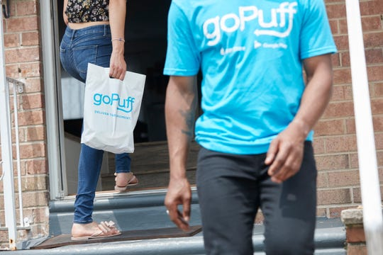 A recent publicity photo shows a goPuff delivery. The app-based service delivers more than 2,500 retail items like snacks and household products to consumers' homes in more than 100 U.S. cities. It launches in Springfield, Mo. at noon on Monday, Sept. 30, 2019.