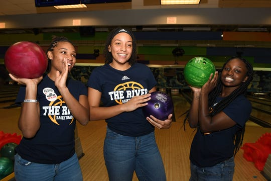 Indian River State College Women's Basketball players Nyanna Williams, left, Lateisha Edwards and Breanna Campbell at the 2019 Bowl for Kids' Sake event for Big Brothers Big Sisters of St. Lucie, Indian River & Okeechobee Counties in St. Lucie West.