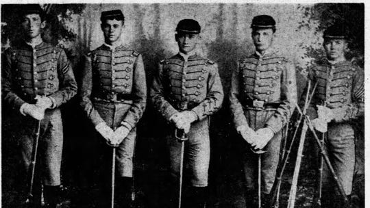 The forerunner of El Paso's four-battalion ROTC unit was the El Paso Cadet Guard, whose officers are shown in the historic photo published April 6, 1952. Taken in 1888, the photograph was presented to the El Paso school district by Mrs. H.E. Stevenson. Cadets are, from left, Cpl. Harry Oldham, First Lt. Flounoy Carter, Capt. Herbert E. Stevenson, Second Lt. William Ewers and First Sgt. Chris Fewel.