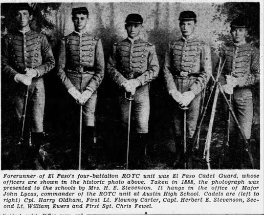 04/06/1952: Forerunner of El Paso's four-battalion ROTC unit was El Paso Cadet Guard, whose cadets are shown in the historic photo above. Taken in 1888, the photograph was presented to the schools by Mrs. H.E. Stevenson. Cadets are (left to right) Cpl. Harry Oldham, First Lt. Flounoy Carter, Capt. Herbert E. Stevenson, Second Lt. William