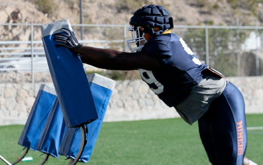 UTEP senior defensive lineman Chris Richardson works on blocking drills during Tuesday's practice at Glory Road Field.