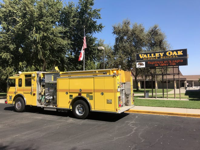 """Hazmat has been called to Valley Oak Middle School. Students complained of eye and skin irritation after being exposed to a """"unknown substance"""" on Tuesday, September 24, 2019."""