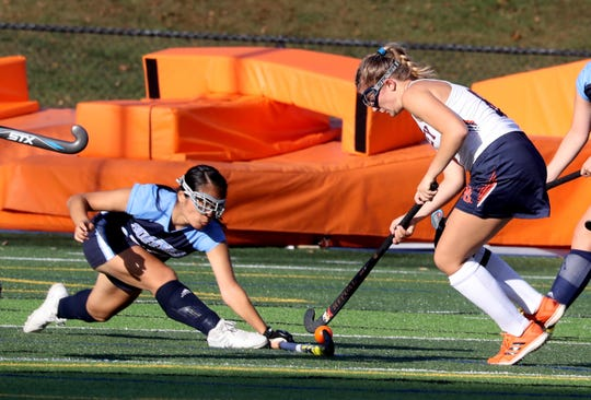 Yaejin Jang of Suffern defends against Lily Schoonmaker of Horace Greeley during a varsity field hockey game at Horace Greeley High School in Chappaqua Sept. 24, 2019. Greeley defeated Suffern 3-0.