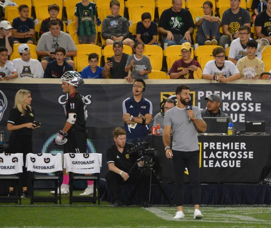 PLL co-founder Paul Rabil and Atlas midfielder had a weekend off during the semifinals at Red Bull Arena so he was part of the NBC Sports Network broadcast on Sept. 14, 2019.