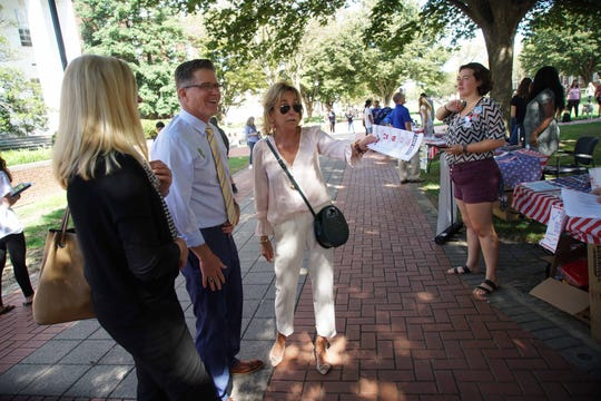 (center)Valerie Biden, sister of Vice President Joe Biden, came out to support students registering to vote on the Green at the University of Delaware for National Voter Registration Day on Tuesday, Sept. 24.