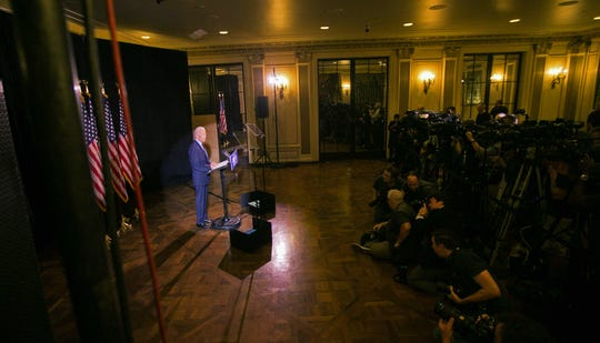 Joe Biden delivers a statement at the Hotel du Pont in Wilmington on Tuesday, where he called for Congress to impeach President Donald Trump.