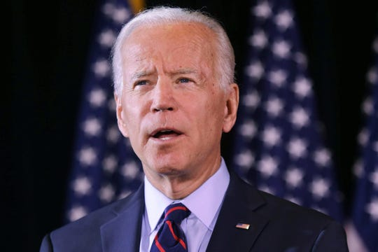 "Joe Biden delivers a statement at the Hotel du Pont in Wilmington Tuesday, where he called  President Donald Trump a ""president who believes he's above the law."""