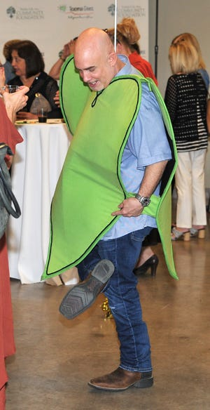 Chance Harmon demonstrated some of his dancing skills while dressed as Mr. TG during a Texoma Gives celebration held Tuesday afternoon.