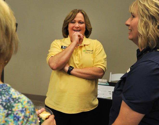 Wichita Falls Area Community Foundation president Leslie Schaffner welcomes guest during the celebration of generosity Tuesday afternoon the area non-profits received nearly $1.3 million donations during the annual fundraiser.
