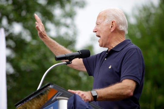 Democratic presidential candidate, former Vice President Joe Biden speaks during the Democratic Polk County Steak Fry on Sept. 21, 2019.