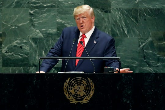 President Donald Trump addresses the 74th session of the United Nations General Assembly on Sept. 24, 2019.