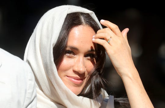 Duchess Meghan of Sussex donned the customary headscarf to visit the Auwal Mosque with Prince Harry during day two of their royal tour of South Africa on Sept. 24, 2019 in Cape Town, South Africa.