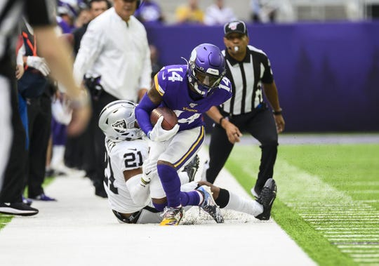 Vikings wide receiver Stefon Diggs made three catches for 15 yards on Sunday by the Oakland Raiders.