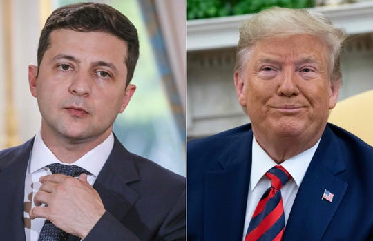"""This combination of pictures created on September 24, 2019 shows Ukraine's President Volodymyr Zelenskiy in June 17, 2019 in Paris, and US President Donald Trump during a meeting in the Oval Office at the White House in Washington, DC, September 20, 2019. US President Donald Trump said on Sept. 24, 2019, he will release the """"fully declassified"""" transcript of a controversial call with Ukraine's president which is fueling Democratic calls for his impeachment."""