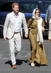Prince Harry and Duchess Meghan visit Auwal Mosque during their royal tour of South Africa on Sept. 24, 2019 in Cape Town.