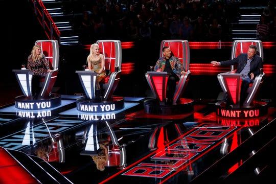 "Coaches Kelly Clarkson, Gwen Stefani, John Legend and Blake Shelton compete on Season 17 of ""The Voice."""