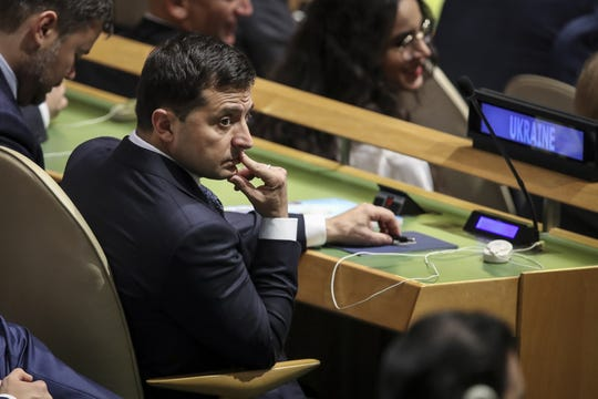 President of Ukraine Volodymyr Zelensky attends the United Nations General Assembly at UN headquarters on Sep. 24, 2019 .