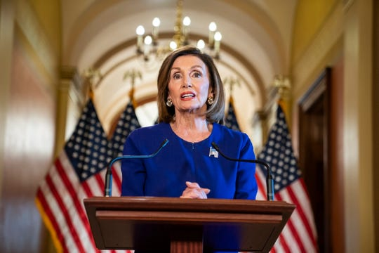 House Speaker Nancy Pelosi, D-Calif., announces at a press conference in the U.S. Capitol that the House will begin a formal impeachment inquiry into President Donald Trump.