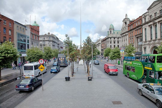 The median of Dublin's O'Connell Street is filled with history.