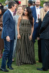 Prince Harry and Duchess Meghan attended a reception to meet community leaders at the British High Commissioner's residence in Cape Town,  Sept. 24, 2019.