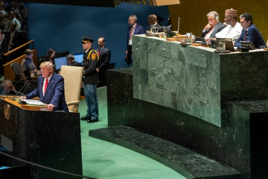 President Donald Trump addresses the 74th session of the United Nations General Assembly at U.N. headquarters Tuesday, Sept. 24, 2019.
