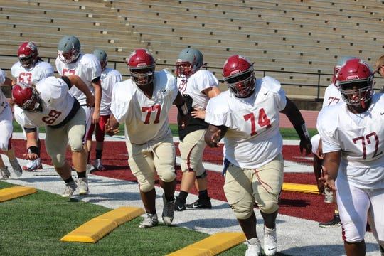 Westside offensive lineman going through a drill in recent practice.
