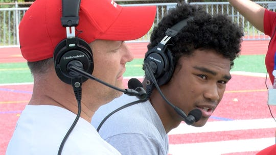 Bergen Catholic Coach Vito Campanile and Defensive Back Jordan Morant appear on the Red Zone Road Show taped in Ramsey Tuesday, September 24, 2019.  They will face off against Don Bosco Friday night.